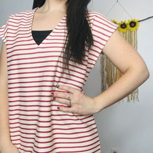 Madewell Dress Striped Cream Red Cotton
